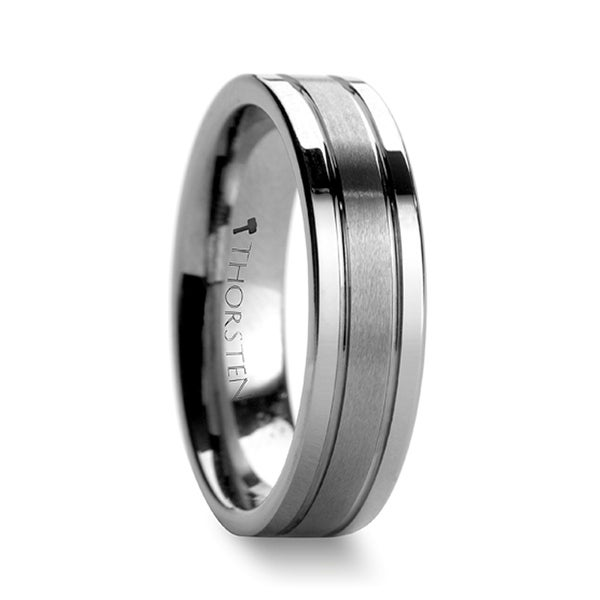 THORSTEN - CHRONOS Flat with Offset Grooves Polished Edges and Satin Center Tungsten Band - 6mm