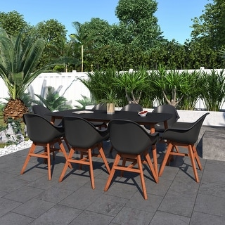 Amazonia Black Modern 9-Piece Patio Wood Dining Set