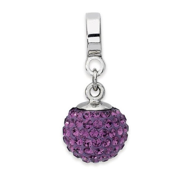Sterling Silver Reflections Feb Swarovski Elements Ball Dangle Bead (4mm Diameter Hole)