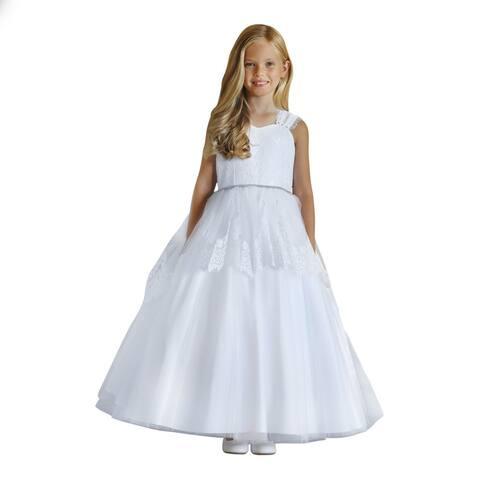 Angels Garment Girls White Lace Tulle Rhinestone Flower Girl Dress 7-10