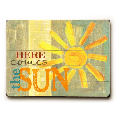 Here comes the sun - Planked Wood Wall Decor by Misty Diller