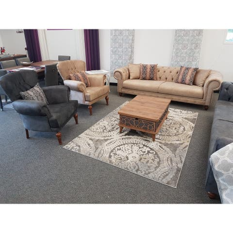 DiscountWorld Chester Living Room Set (Two 3 Seat Beige Sofas And Two Chairs) (3-3-1-1)