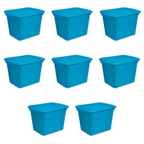 STERILITE 18 Gallon Storage Totes, Blue Morpho - Case of 8