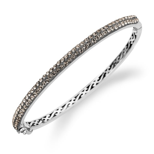 Crystaluxe Bangle with Slate Swarovski Crystals in Sterling Silver - grey