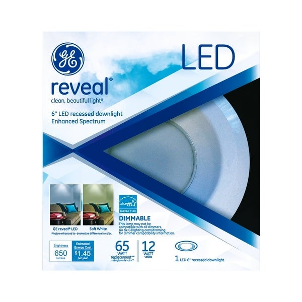 GE 83572 Reveal LED Recessed Light Kit, 12 W