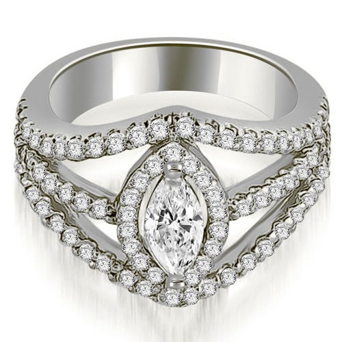 1.20 cttw. 14K White Gold Halo Marquise Cut Diamond Engagement Diamond Ring