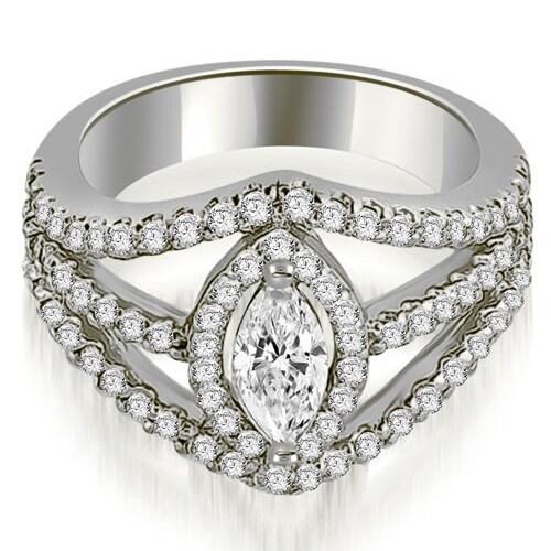 1.70 cttw. 14K White Gold Halo Marquise Cut Diamond Engagement Diamond Ring