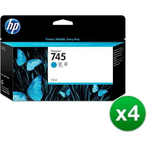 HP 745 130-ml DesignJet Photo Cyan Ink Cartridge (F9J97A)(4-Pack)
