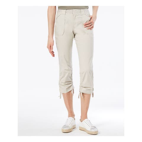 INC Womens Beige Curvy Fit Studded Cargo Pants Size 0