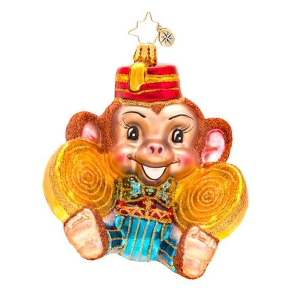 Christopher Radko Glass Monkey Noise with Symbols Christmas Ornament #1017160 - brown