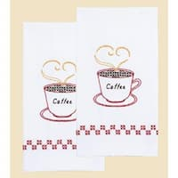 """Coffee Time - Stamped White Decorative Hand Towel Pair 17""""X28"""""""