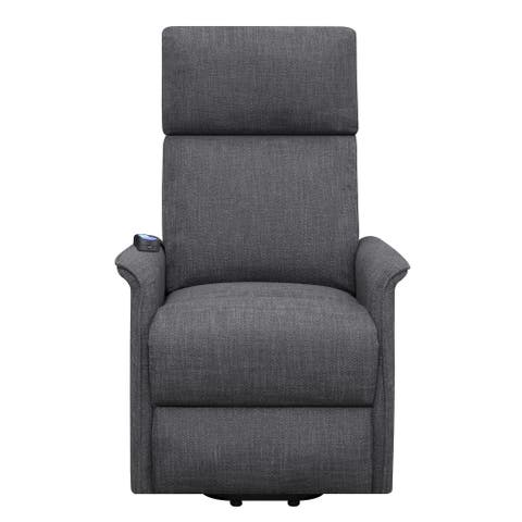Fabric Power Lift Massage Chair with Wired Remote and Side Pockets, Gray