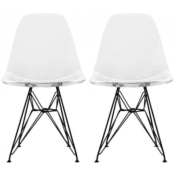 2xhome   Set Of 2 Clear Modern Designer Acrylic Plastic Dining Chairs Dark  Black Solid Wire