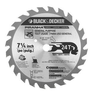 "Black & Decker 67-737 Circular Saw Blades, 7-1/4"", 24 Teeth"
