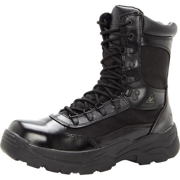 "Rocky Work Boots Mens 8"" Fort Hood Zipper Waterproof Black"