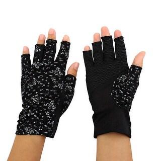 Breathable Half Finger Mittens Summer Outdoor Sun Resistant Gloves Black Pair
