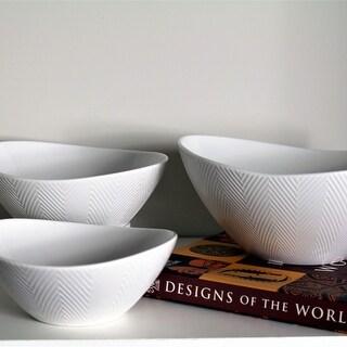 Euro Ceramica Highlands Collection Porcelain Dining / Serving Nesting Bowls (Set of 3)