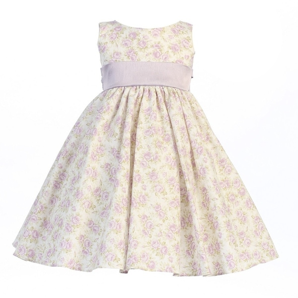 Baby Girls Lilac Floral Print Poly Shantung Sash Easter Dress 3-24M