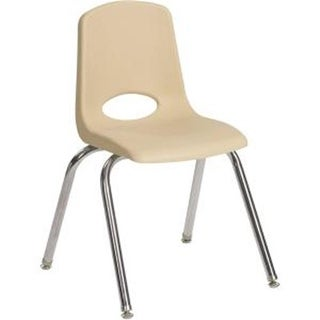 Early Childhood Resources 10 in. Chrome Legs Stack Chair, Sand