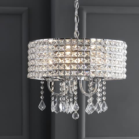 "Reese 17"" Metal/Crystal LED Adjustable Drop Pendant, Chrome by JONATHAN Y"