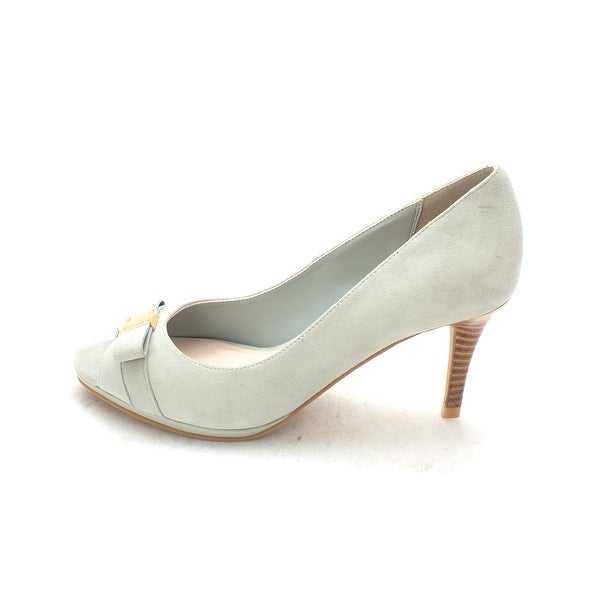 Cole Haan Womens 14A4175 Suede Peep Toe Classic Pumps, Grey Jade, Size 6.0