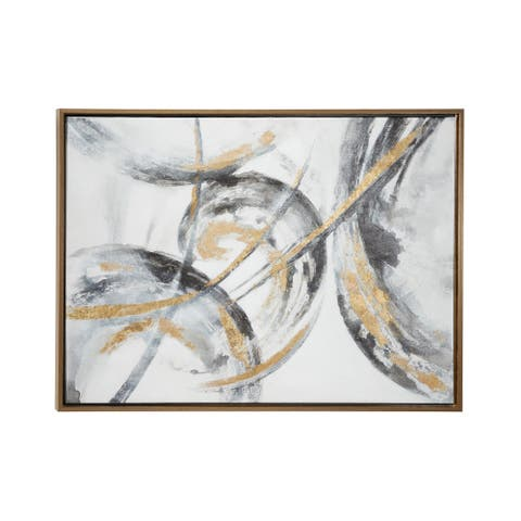 "Large Metallic Gold and Black Contemporary Abstract Art Painting in Metallic Gold Wood Frame 39.5"" x 29.5"""
