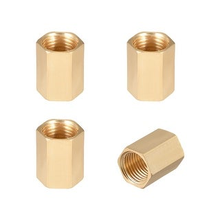 "Brass Pipe Fitting,1/4"" G Female Thread Straight Brass Hex Rod Pipe Fitting 4pcs - 1/4"" G Female 4pcs"