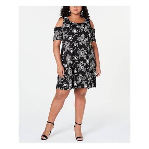 SIGNATURE Black Short Sleeve Above The Knee Dress 1X