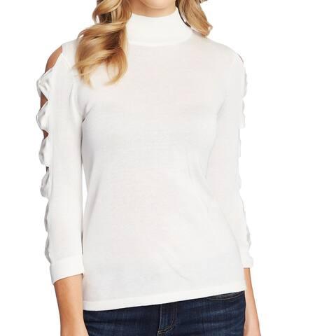 CeCe Women's Sweater White Ivory Size Large L Mock Neck Knot Sleeve