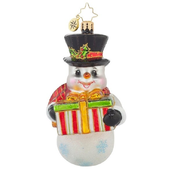 Christopher Radko Glass A Gift For You Snowman Christmas Ornament #1017694 - WHITE