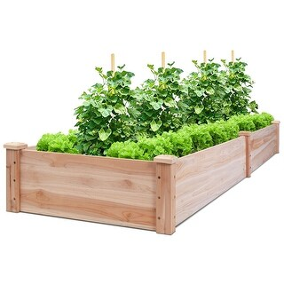 Costway Wooden Vegetable Raised Garden Bed Patio Backyard Grow Flowers Plants Planter