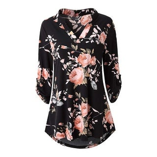 Link to Haute Edition Women's Floral 3/4 Roll Sleeve Tunic Top Similar Items in Dresses