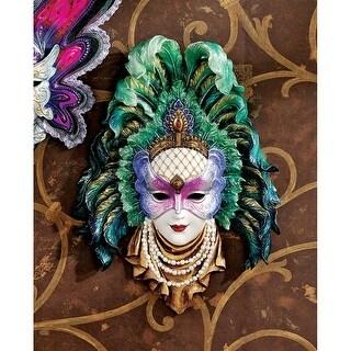 Maidens of Mardi Gras Wall Mask Sculpture: Peacock Princess DESIGN TOSCANO