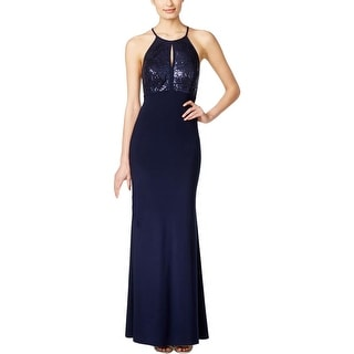 Xscape Womens Evening Dress Sequined Keyhole