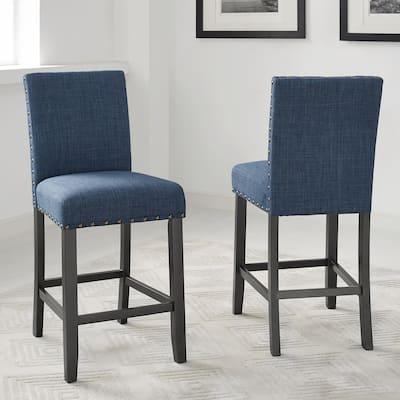 "Strick & Bolton Gallaccio 25-inch Fabric Stool (Set of 2) - 40""H x 18.3""W x 19""D"
