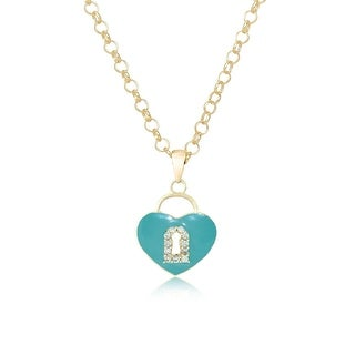 Lily Nily Girl's Heart Lock Pendant with CZ