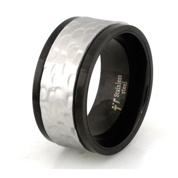 Two-Tone Stainless Steel Hammered Spinner Ring