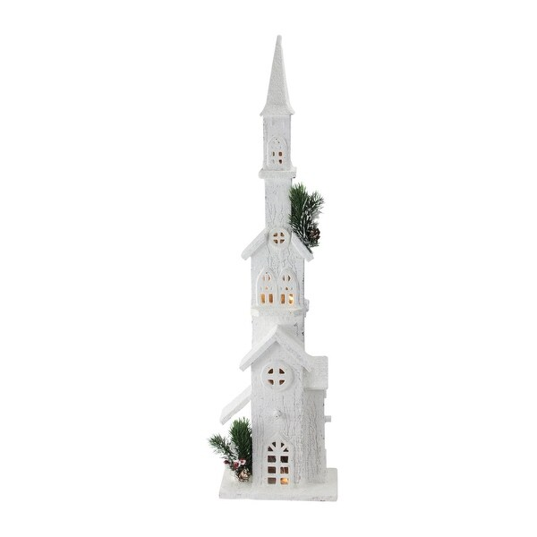 """27.5"""" LED Lighted White Wooden Snowy Church with Tower Christmas Decoration"""