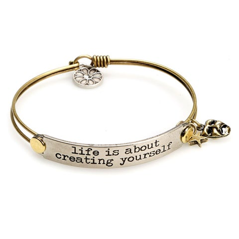 Women's Inspirational Message Brass Bracelet with Charms - Life Is About