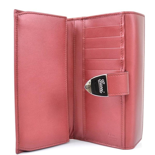 GUCCI 231837 CALF LEATHER SIGNORIA BUCKLE CONTINENTAL BIFOLD WALLET