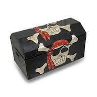Wooden Pirate Treasure Chest- Skull with Bandana - brown