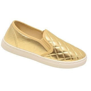 Anna Adult Gold Metallic Quilted Laceless Sneaker Casual Shoes