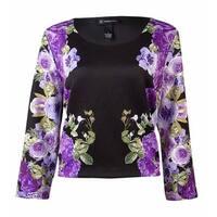 INC International Concepts Women's Floral Cropped Scuba Top - Vibrant Garden - PM