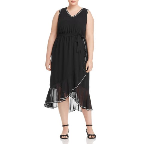 Vince Camuto Women's Dress Black Size 24W Plus Sheath Ruffle Hem Midi