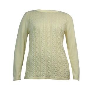Karen Scott Women's Boat Neck Cable Knitted Sweater
