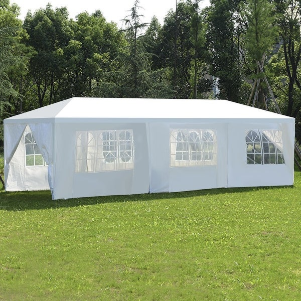 Costway 10'x30'Heavy duty Gazebo Canopy Outdoor Party Wedding Tent - White