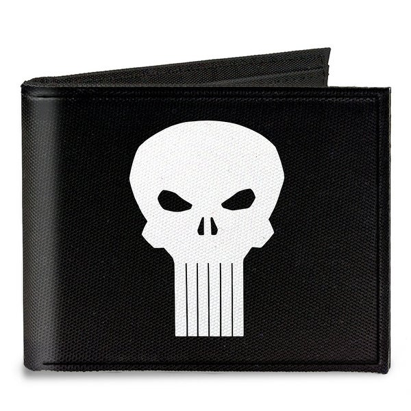 Punisher Logo3 Black White Canvas Bi Fold Wallet One Size - One Size Fits most