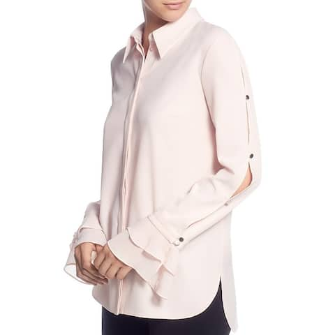 T Tahari Womens Blouse Ruffled Sleeves Button-Down