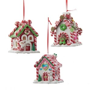 Club Pack of 12 Peppermint Twist Battery Operated LED Gingerbread House Christmas Ornaments 3.5""