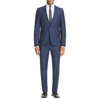 Hugo Boss Mens Astian/Hets Birdseye Virgin Wool Slim Fit Suit 34R Pants 32W